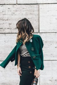 Green Oversized Button Jacket And Trousers