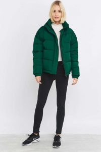 Green Puffer Jacket And Sneakers
