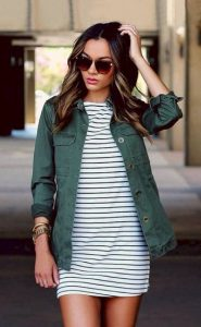 Green Utility Jacket And Striped Dress