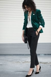 Green Velvet Blazer And Cigarette Pants