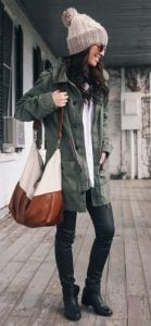 Green Winter Jacket With Faux Leather Trousers