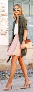 Long Line Shirt Style Jacket And Pink Pleated Skirt