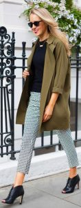 Olive Green Casual Jacket With Houndstooth Trousers