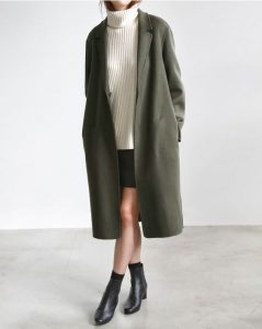 Olive Green Duster Coat With Ankle Boots
