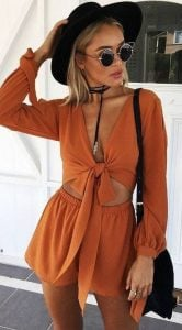 Orange Romper With Black Accessories