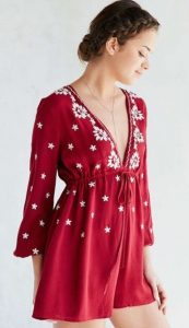 Red Embroidered Romper And Dutch Braid Crown