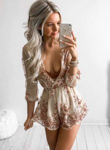 Rose Gold Beaded Romper