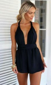 Simple Black Deep V Romper