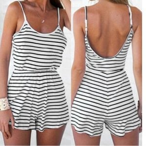 Striped Scoop Back Jersey Romper