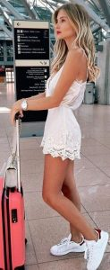 White Lace Romper And Sneakers