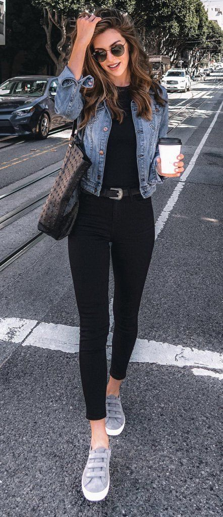 cute black and jeans outfit for school