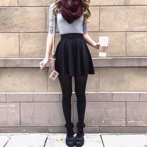 high waist skirt outfit