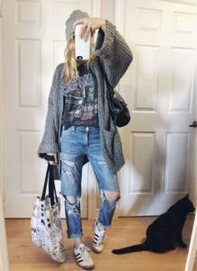 Boyfriend jeans and a Band Tee