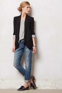 Office Outfit with Boyfriend Jeans
