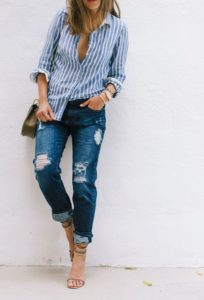 Classic Preppy Style with Ripped Jeans