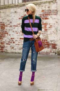 Boyfriend Jeans with Colourful Tights