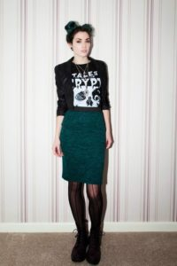 Gothic Grunge Style Pencil Skirt Outfit