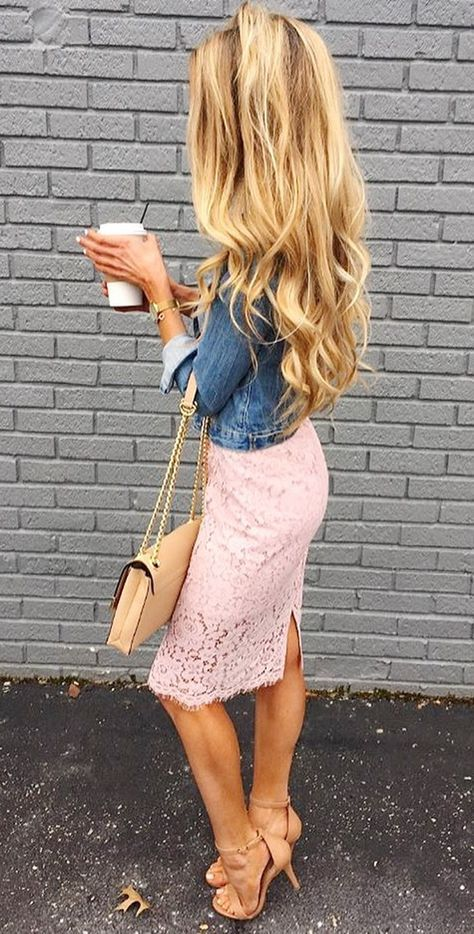 Denim and Lace Pencil Skirt Outfit