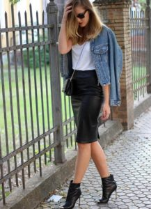 Leather and Denim Pencil Skirt Outfit