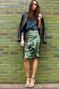 Mixed Fabric Pencil Skirt Outfit