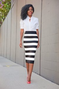 Striped Pencil Skirt Outfit