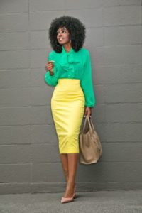 Bold and Bright Colours Pencil Skirt Outfit