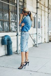 Double Denim Pencil Skirt Outfit