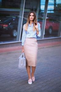 Preppy Pink Leather Pencil Skirt Outfit