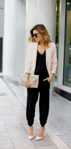 Black Jumpsuit with Blush Blazer