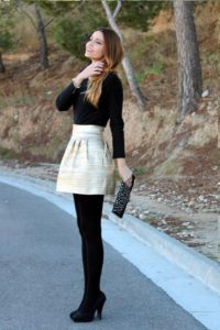 Metallic Mini Skirt and Polo neck