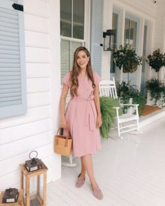 Pink Wrap Dress and Loafers