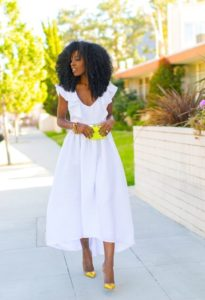 White Midi Dress with A pop of Yelow