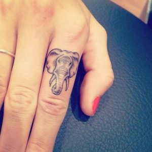 Adorable Finger Elephant Tattoo