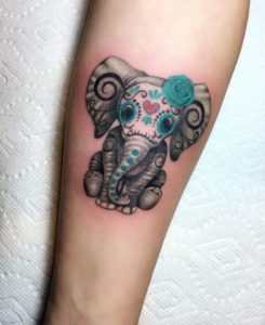 Day of the Dead Elephant Tattoo