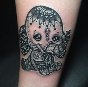 Monochrome New School Design Elephant Tattoo