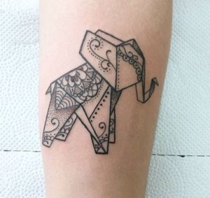 Adorable Origami Elephant Tattoo