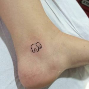 Tiny Ankle Elephant Tattoo