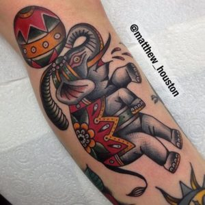 Traditional Circus Elephant Tattoo