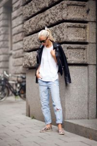 Boyfriend Jeans and Leather Tomboy Outfits