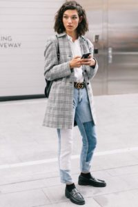 Patwork jeans and Oversized Blazer