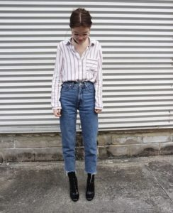 Striped Shirt and Vintage Jeans
