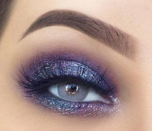 Shimmering Grey with Blue and Purple Eyes