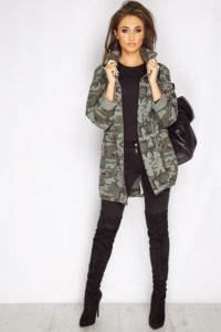 all black camo jacket outfit
