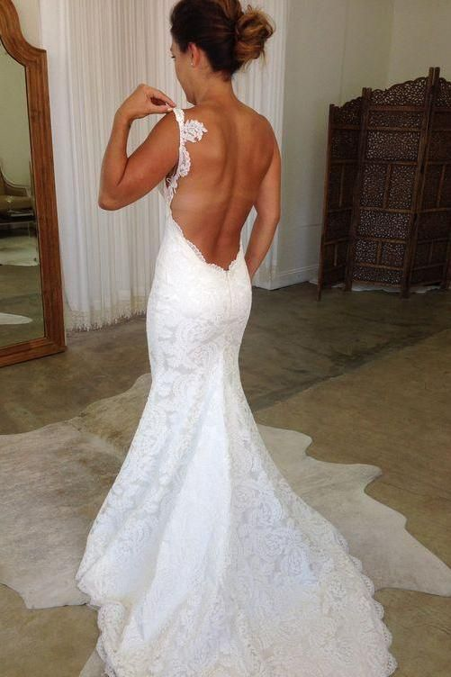 lace backless mermaid dress