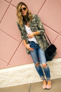 ballet flats and camo jacket outfit