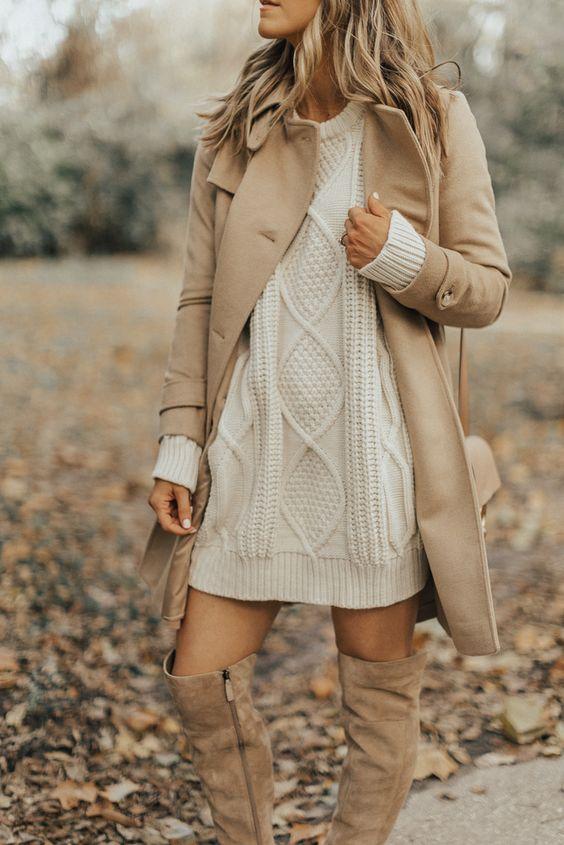beige sweater look