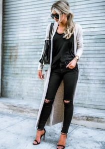 long black monochrome cardigan outfits