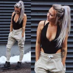 halter bodysuit with low sweatpants