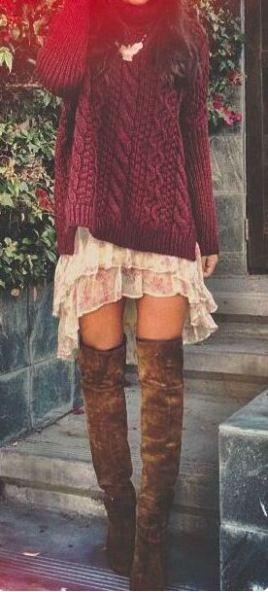boho sweater dress