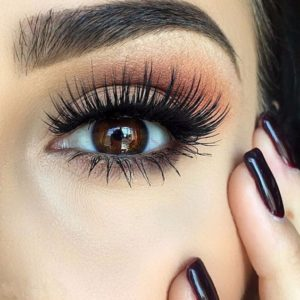brown eyeshadow and lashes